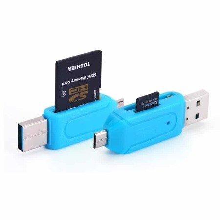 Adapter OTG USB - MicroUSB - Czytnik kart SD/T-Flash - OTG card reader