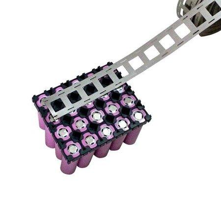 Blaszka do pakietowania ogniw 2P - szerokość 27mm (2 ogniwa) - do połączeń równloległych ogniw 18650 - 1mb