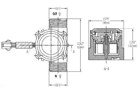 Czujnik przepływu cieczy, wody 1-30l/min - 1/2' - przepływomierz YF-S201