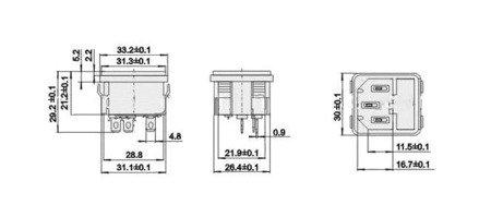 Gniazdo AC IEC - męskie - trapezowe - z bezpiecznikiem - montaż do obudowy na zatrzask