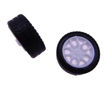 Koło 26x7mm - do robotów i pojazdów DIY - czarna opona z białą felgą