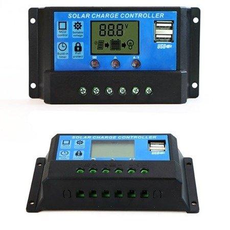 Kontroler solarny PWM  - 30A 12/24V - wyświetlacz LCD - 2x gniazdo USB
