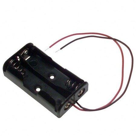 Koszyk na baterie 2xAA (R6 1.5V) - koszyczek kostka z przewodami