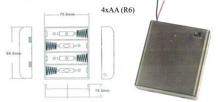 Koszyk na baterie 4xAA (R6) - koszyczek z pokrywką i wyłącznikiem