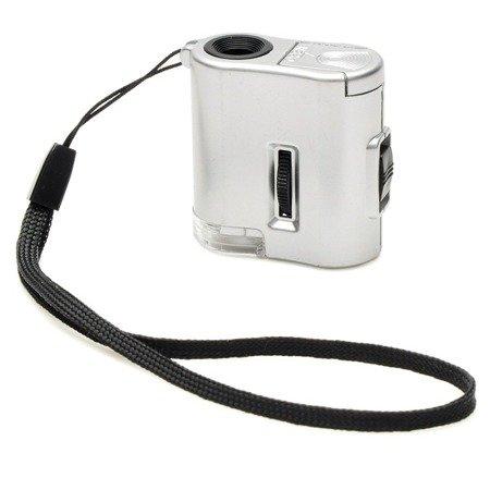 Lupa mikroskop kieszonkowy - 60x - Diody - 2xLED - 1xLED UV