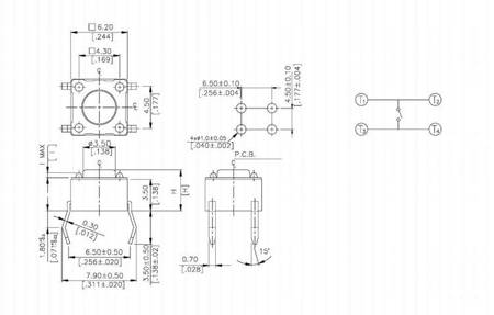Mikrostyk TACT 6x6 13mm - mikroswitch - 10 szt