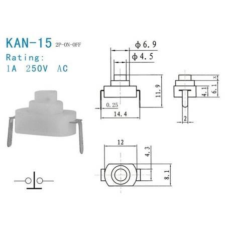 Mikroswitch 12x8mm - 10 szt - KAN-15 - włącznik chwilowy samoblokujący 1208YD