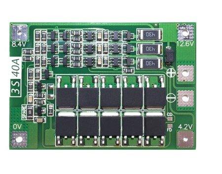 Moduł BMS PCM PCB - wer. BALANCE ładowania i ochrony ogniw Li-Ion - 3S - 12,6V - 40A - do ogniw 18650