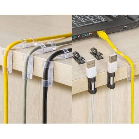 Organizer do kabli 10mm - 16 szt transparentny - uchwyt na wiązkę przewodów