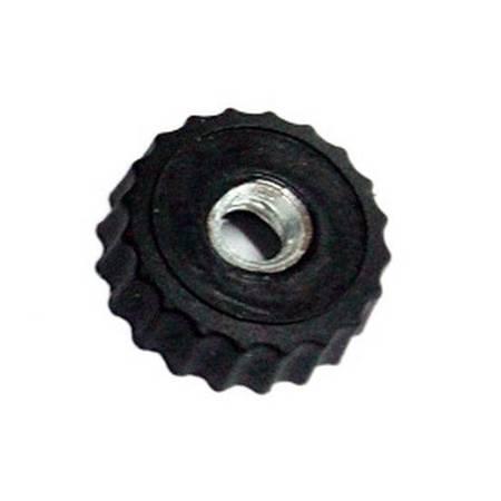Pokrętło radełkowane na śrubę M4 - czarne - nakrętka z gwintem - gałka