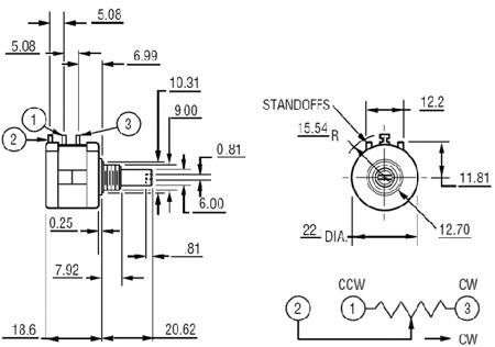 Potencjometr precyzyjny - wieloobrotowy - 10k Ohm - 2W - 3590S-2-103L