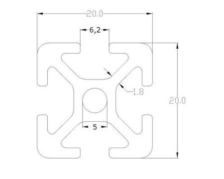 Profil aluminiowy T6 2020 T6 240mm - anodowany - do drukarek 3D, stelaży, maszyn przemysłowych