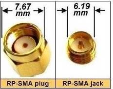 Przejście - RP-SMA plug na RP-SMA jack - adapter prosty z przewodem 300mm