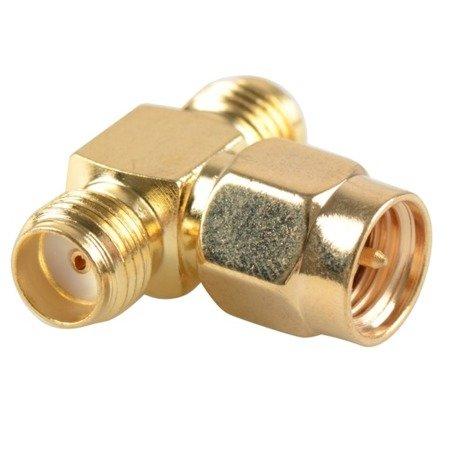Przejście trójnik rozgałęźnik - SMA plug 2x SMA jack - adapter 1 szt