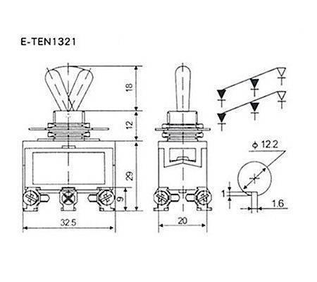 Przełącznik dźwigniowy - E-TEN1321 - 15A - 250V - 2-pozycyjny - 6 pin