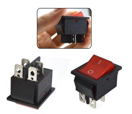 Przełącznik klawiszowy KCD4 - czerwony - przełącznik ON/OFF - 220V - 4 PIN