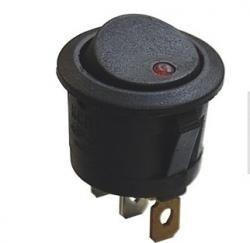 Przełącznik kołyskowy - SMRS101-6LDR - 6A/250V - okrągły - ON-OF - czarny - dioda LED czerwona
