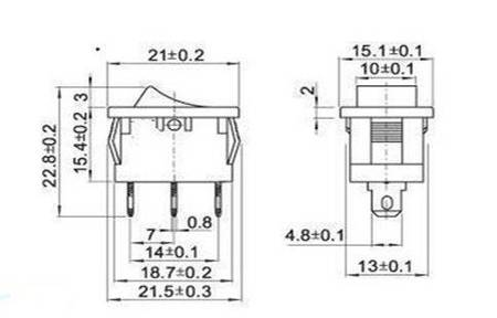Przełącznik kołyskowy bistabilny KCD1-101 - czarny - 21x15mm - przełącznik ON/OFF 250V - 3PIN