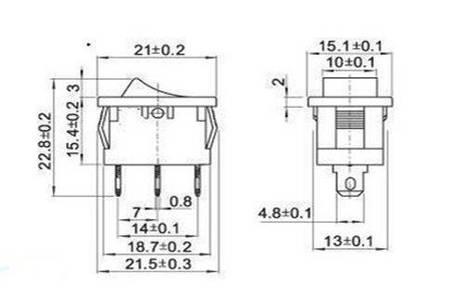 Przełącznik kołyskowy bistabilny KCD1 - czerwony mat - 21x15mm - przełącznik ON/OFF 230V - 3PIN
