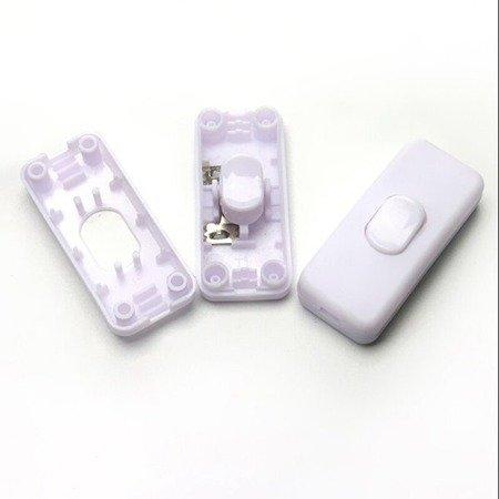 Przełącznik na kabel biały - przelotowy - ON/OFF - wyłącznik lampowy