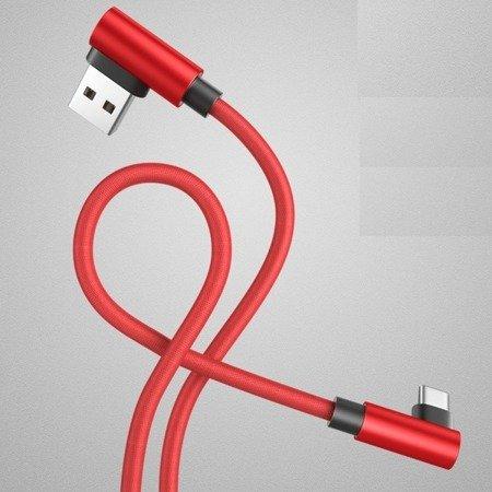 Przewód USB - USB type-C - kątowy - RED 100cm
