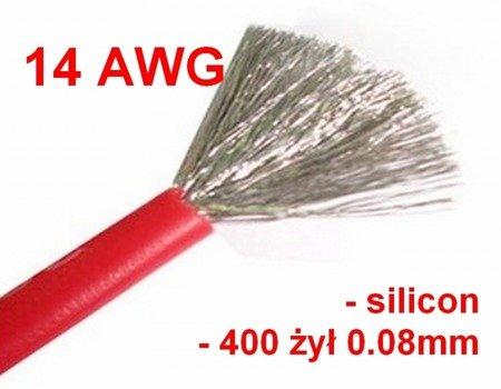 Przewód silikonowy miedziany ocynowany 14AWG - 400 żył - 2,0mm2 - czerwony - elastyczny