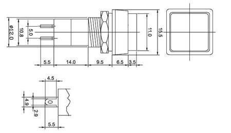 Przycisk PBS-12A - 250V 1A - czerwony - bistabilny - kwadratowy
