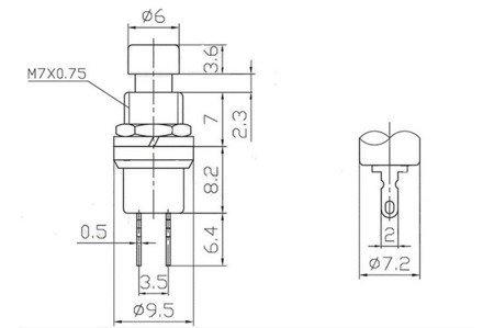 Przycisk chwilowy PBS-110 - zielony - 250V-1A / 125V-3A  - 7mm - okrągły