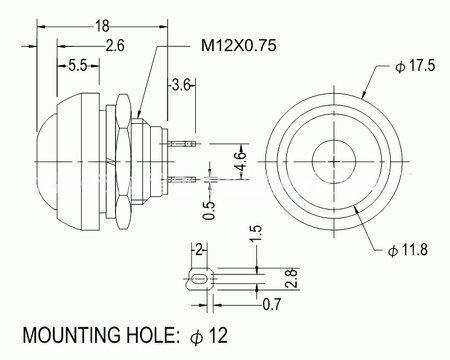 Przycisk chwilowy PBS-33B - czerwony - 250V-1A - 12mm - monostabilny - okrągły