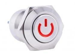Przycisk wandalo-odporny 'POWER' - PBW-12BPW - 2A 250V - monostabilny - klawisz płaski - podświetlany na czerwono