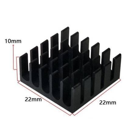 Radiator aluminiowy wytłaczany - 22x22x10mm czarny - radiator chłodzący