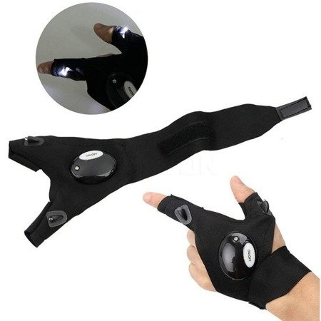 Rękawiczka z latarką LED - wodoodporna rękawica bez palców - antypoślizgowa