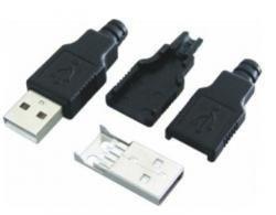 Wtyk USB z osłoną - typ A - montowane na kabel - męski