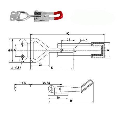 Zacisk metalowy -regulowany GH-4001 - 150kg - U-BAR -
