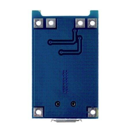 Zasilacz buforowy - Ładowarka Micro USB 1A do Li-pol 18650 - na TP4056