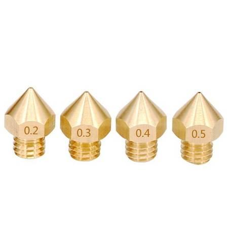 Zestaw 4x Dysz 0,2/0,3/0,4/0,5 mm - H13 - M6 - Filament 1,75mm - RepRap E3D V5 V6