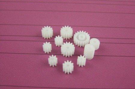 Zestaw 9 kół zębatych i zębatek + 2 przekładnie ślimakowe - do silniczków elektrycznych