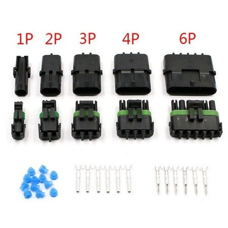 Złącze Weatherpack 4-PIN komplet - wtyk+gniazdo - złącze samochodowe - hermetyczne