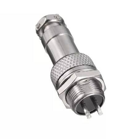 Złącze przemysłowe zakręcane GX12 2-PIN - wtyk z gniazdem